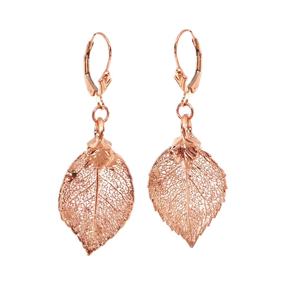 Soft Sparkling 24kt Rose Gold Saturated Real Leaf Earrings on Gold Filled Hooks