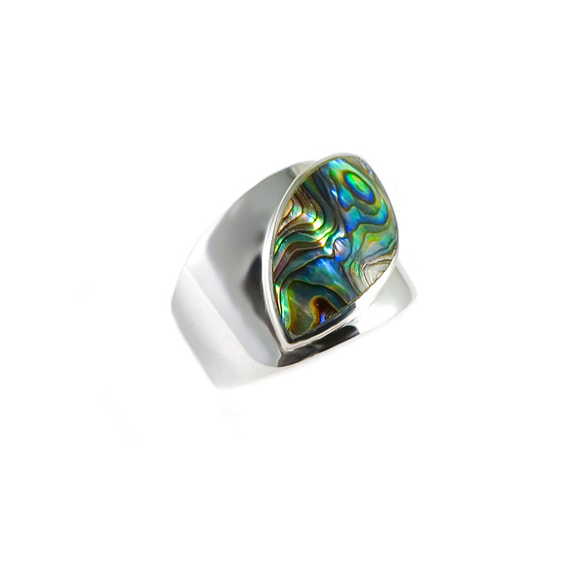 Beautiful Abalone Cats-Eye Sterling Silver Ring