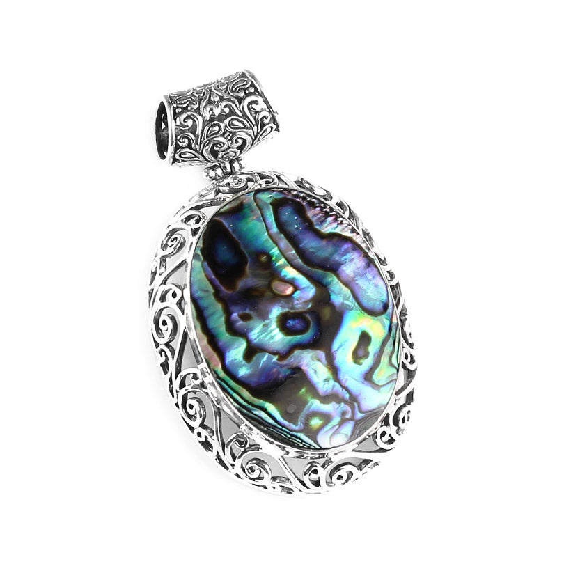 Beautiful Abalone Stone Set in Balinese Sterling Silver Scroll-Work Pendant