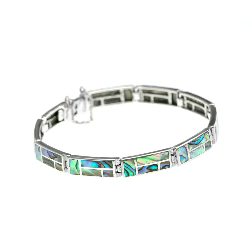 Radiant Lustrous Labyrinth Abalone Sterling Silver Bracelet
