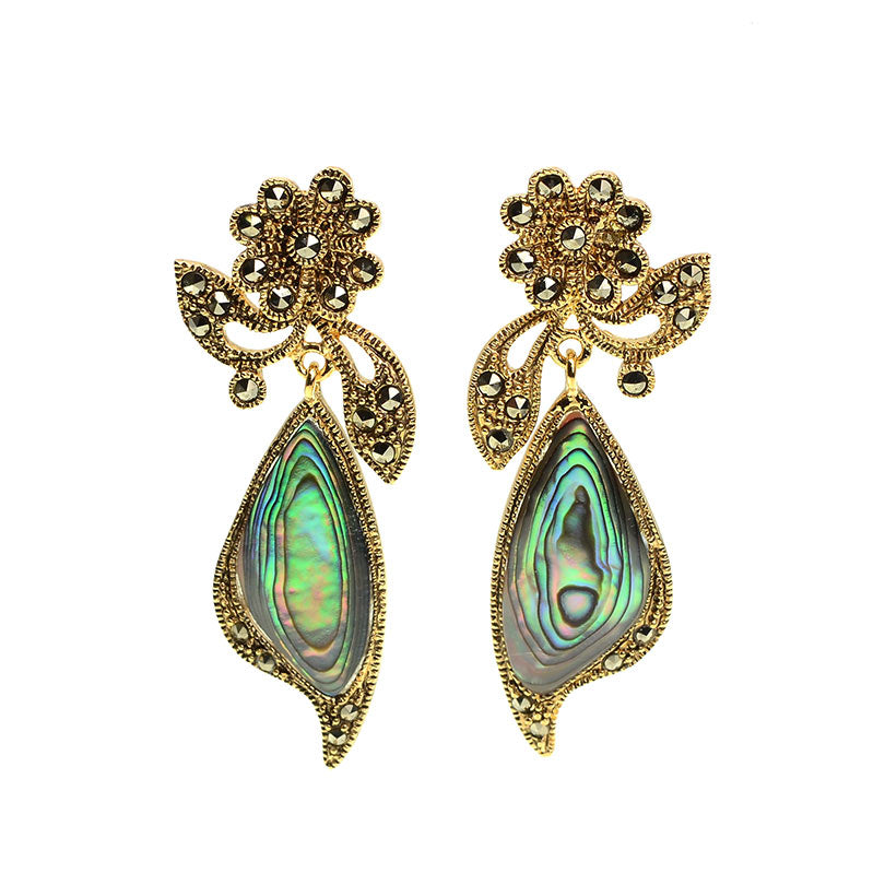 Beautiful Abalone Gold Plated Marcasite Flower Earrings