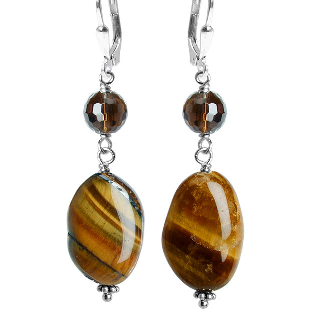 Shimmering Smooth Tiger's Eye and Sparkling Smoky Quartz Sterling Silver Earrings