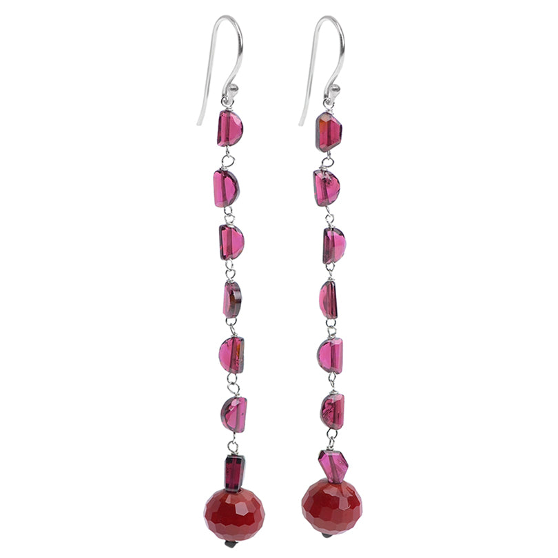 Brilliant Red Corundum and Garnet Sterling Silver Earrings