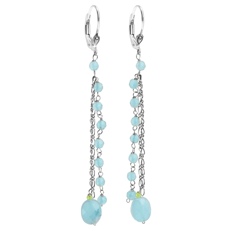 Enchanting Sky Blue Chalcedony with Peridot Accent Sterling Silver Drop Earrings