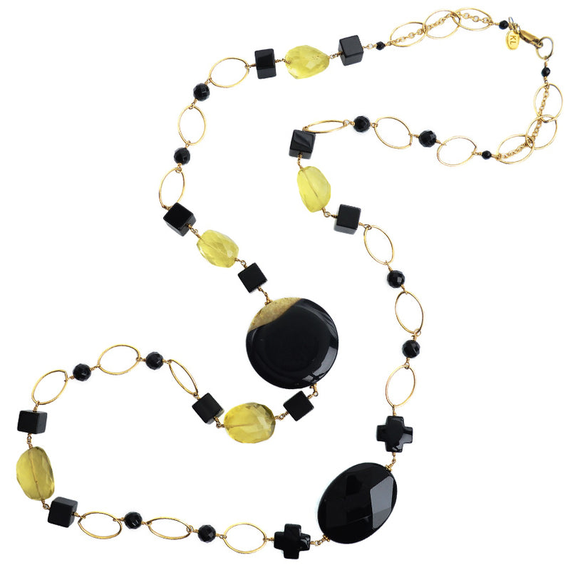 Dramatic Black Onyx and Faceted  Lemon Quartz Gold Filled Long Necklace 42