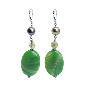 Glorious Green Agate, Fresh Water Pearl and Prehnite Sterling Silver Earrings