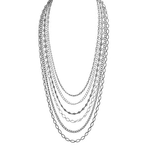 "6-Strand Silver and Black Plated Chains Necklace 18"" - 20"""