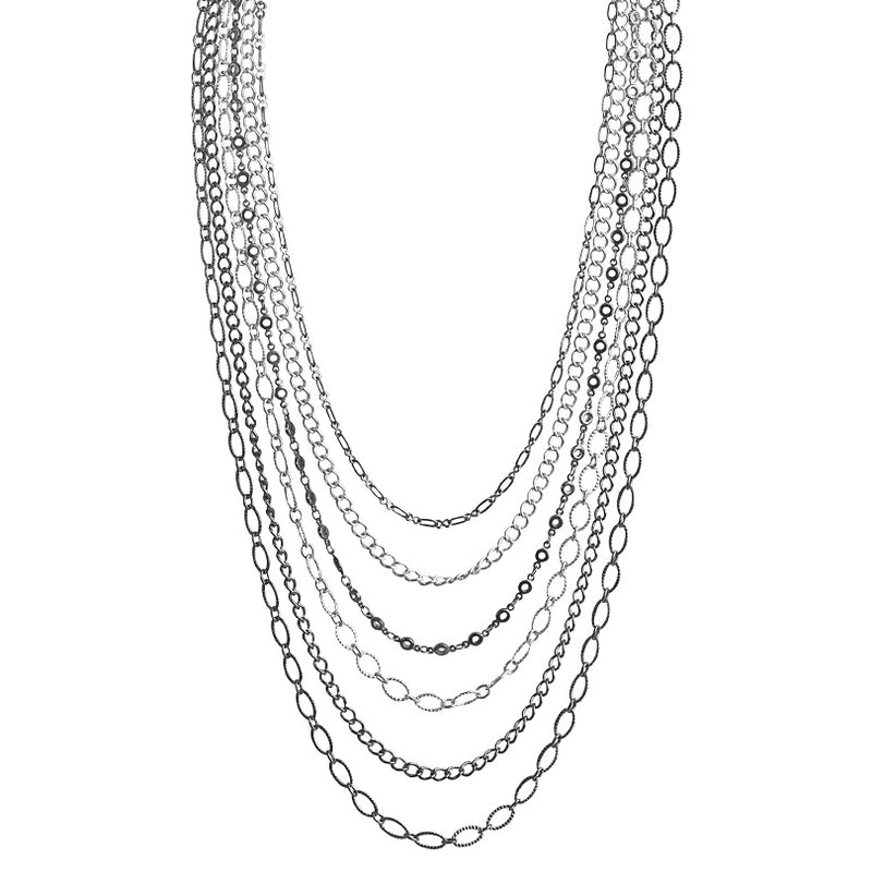 6-Strand Silver and Black Plated Chains Necklace 18
