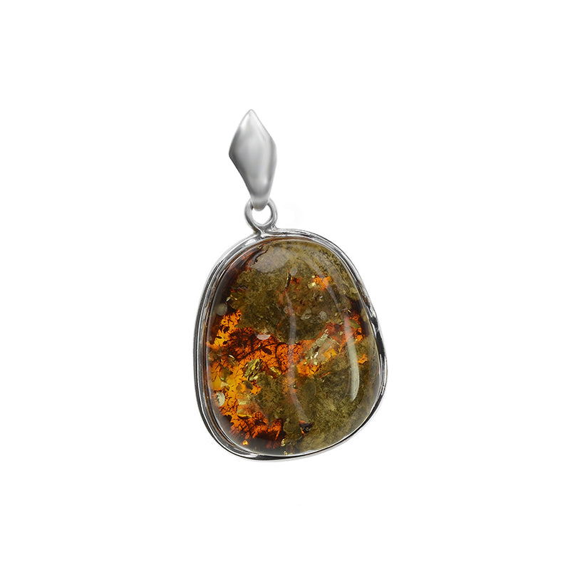 Pretty Baltic Amber Sterling Silver Pendant With Sparkling Inclusions.