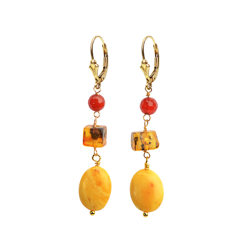 Baltic Amber and Carnelian Earrings with Gold Filled Lever-back Hooks