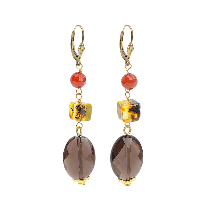Sparkling Faceted Smoky Quartz, Baltic Amber and Carnelian Earrings on Gold Filled Hooks