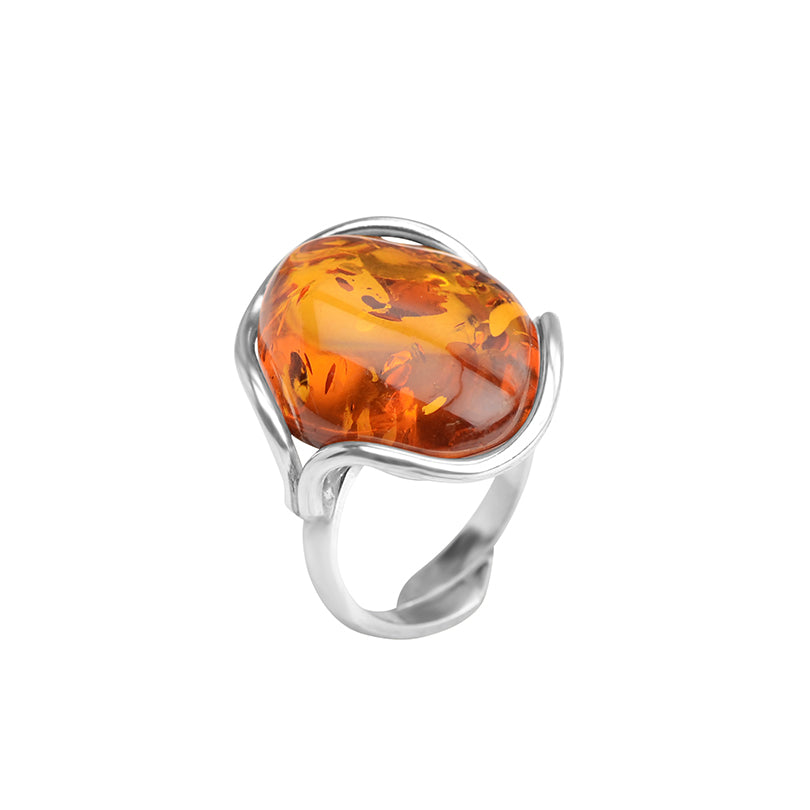 Lovely Cognac Baltic Amber Sterling Silver Ring