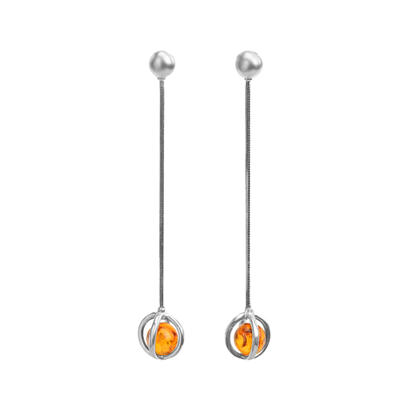 Darling Cognac Baltic Amber Dangle Sterling Silver Earrings