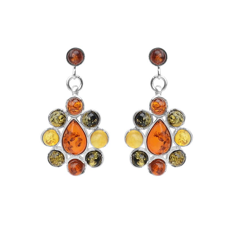 Flirty Mixed Baltic Amber Sterling Silver Earrings