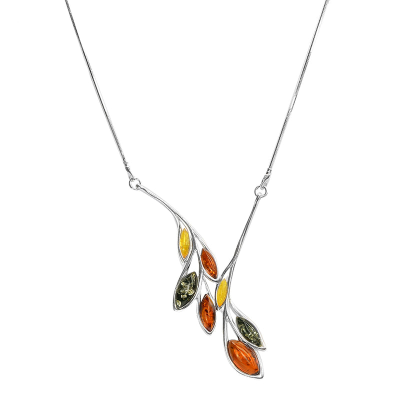 Gorgeous Mixed Baltic Amber Garland of Leaves Sterling Silver Necklace
