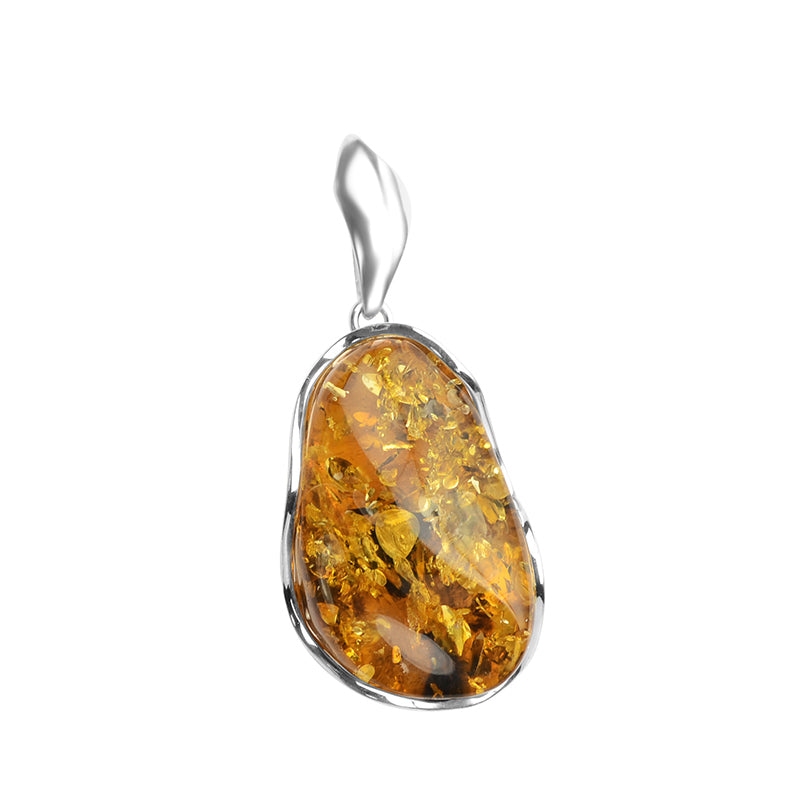 Gorgeous Large Cognac Baltic Amber Sterling Silver Statement Pendant