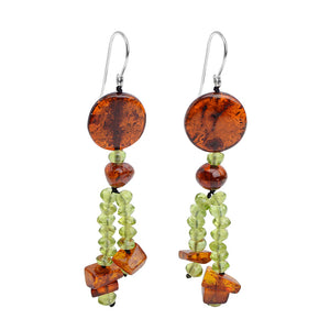 Whimsical Polish Designer Cognac Baltic Amber and Peridot Earrings on Sterling Silver Hooks