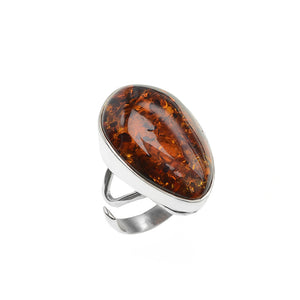Rich, Deep Cognac Baltic Amber Sterling Silver Ring