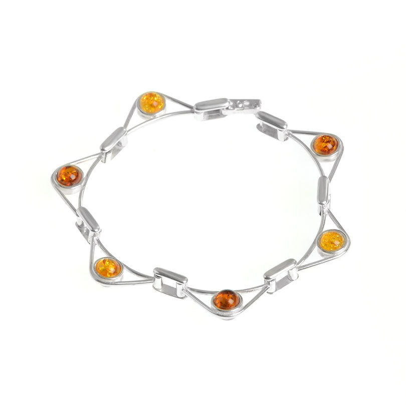 Amazing Amber Star Sterling Silver Bracelet