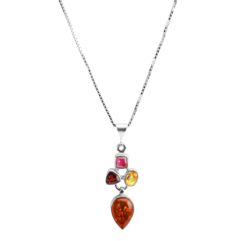 Darling Cognac Baltic Amber, Garnet and Citrine Sterling Silver Necklace