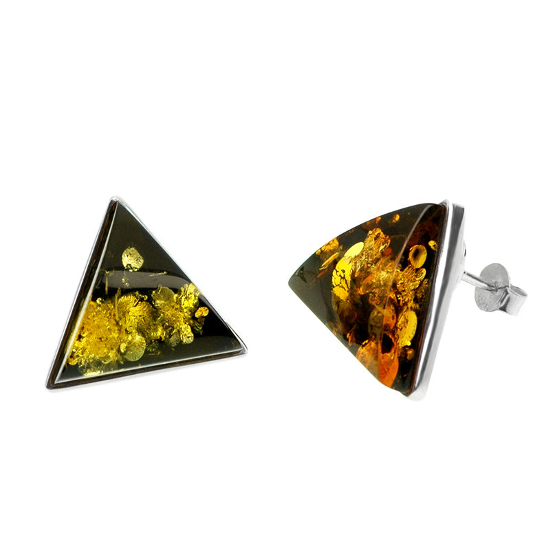 Dark Cognac Baltic Amber Wave Cut Sterling Silver Post Earrings