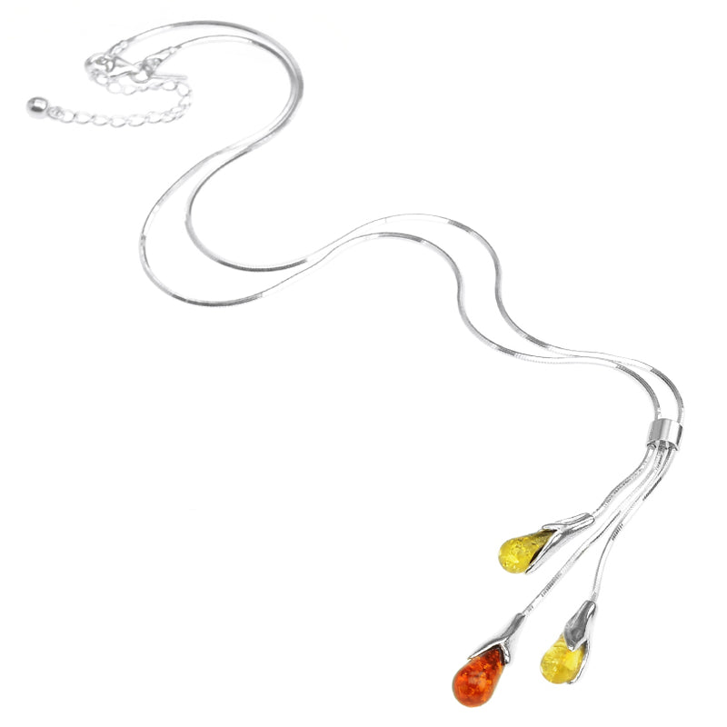 Delicate Mixed Color Amber Tulip Drop Sterling Silver Statement Necklace