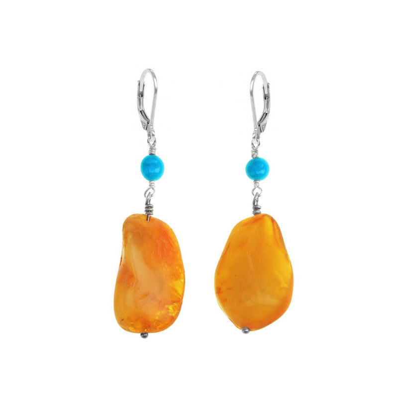 Rich, Golden Brown Butterscotch Baltic Amber with Sleeping Beauty Geniune Turquoise Earrings