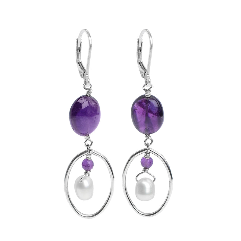 Gorgeous Amethyst & Fresh Water Pearl Sterling Silver Earrings
