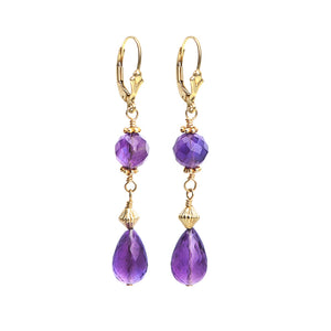Gorgeous Briolette Amethyst Gold Fill Leverback Hook Earrings