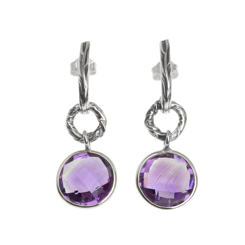 Gorgeous Multi-Faceted Amethyst Sterling Silver Earrings