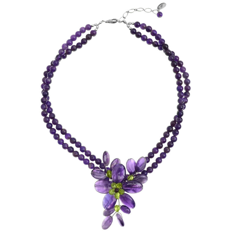 Beautiful Amethyst and Peridot Sterling Silver Flower Necklace