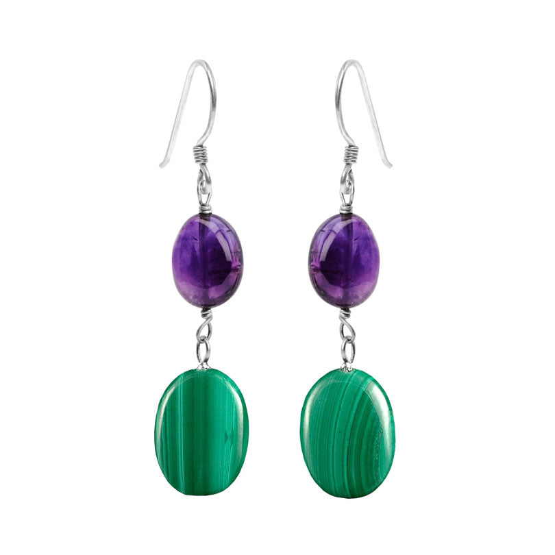 beautiful Green Malachite with Amethyst Sterling Silver Earrings