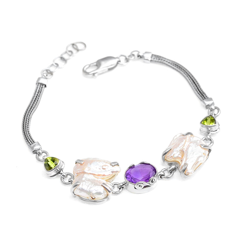 Lovely Fresh Water Pearl With Amethyst & Peridot Sterling Silver Bracelet