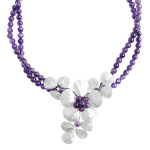 Lovely Amethyst & Mother of Pearl Sterling Silver Flower Necklace