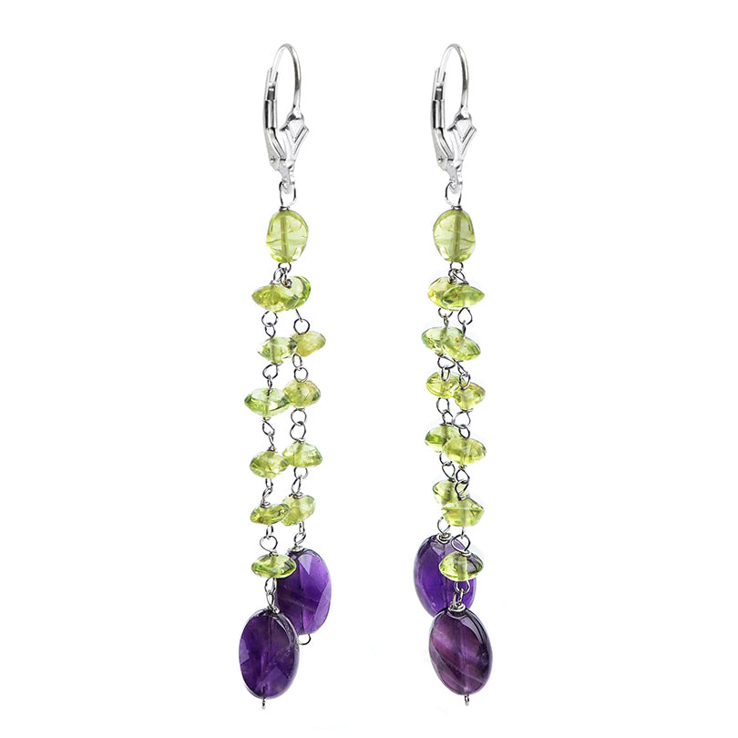 Sterling Silver Amethyst Peridot Earrings