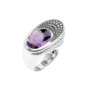 Amazing Large Balinese Design Diamond Cut Amethyst Sterling Silver Ring