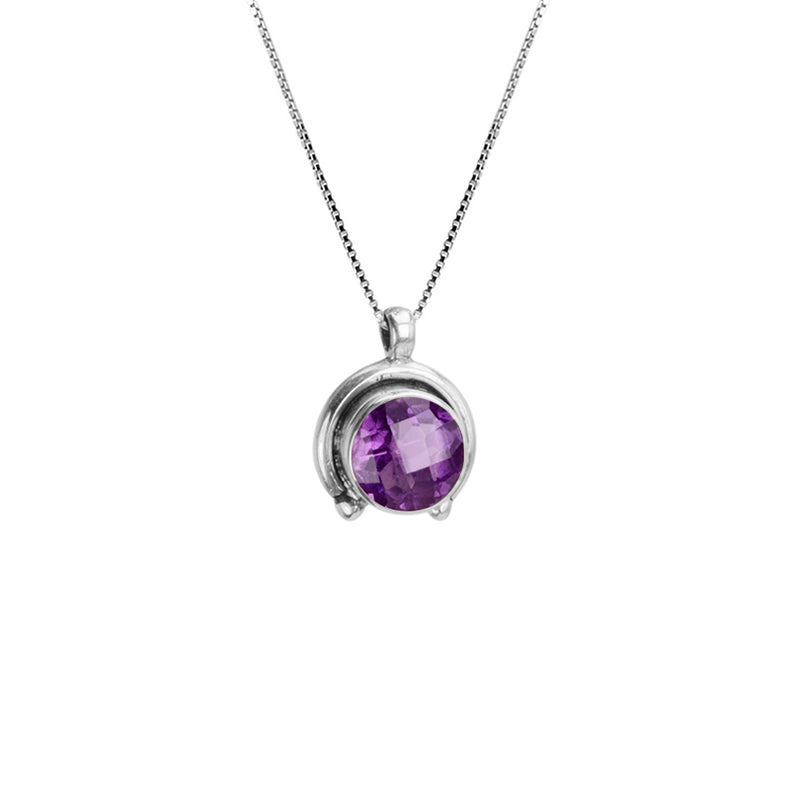 Faceted Amethyst Sterling Silver Necklace