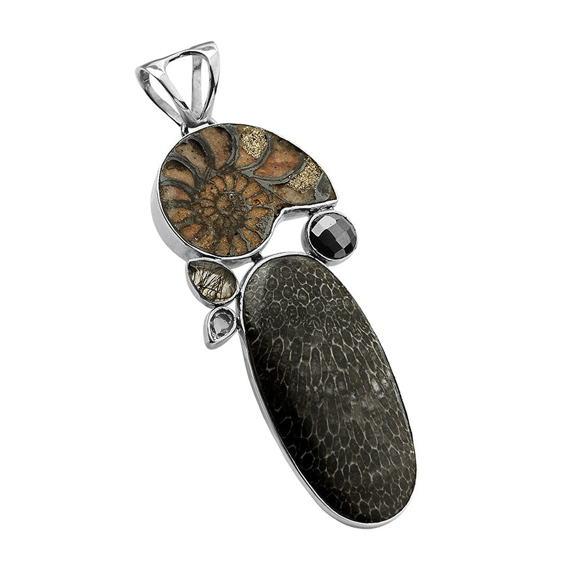 Avant Garde Fossils of Ammonite, Bryozoa, Black Rutilated Quartz and Hematite Sterling Silver Statement Pendant