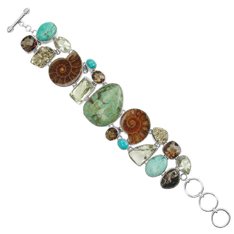 Stunning Genuine Turquoise, Green Amethyst, Ammonite, Smoky Quartz, Pyrite Gemstone Sterling Silver Bracelet-one of a kind