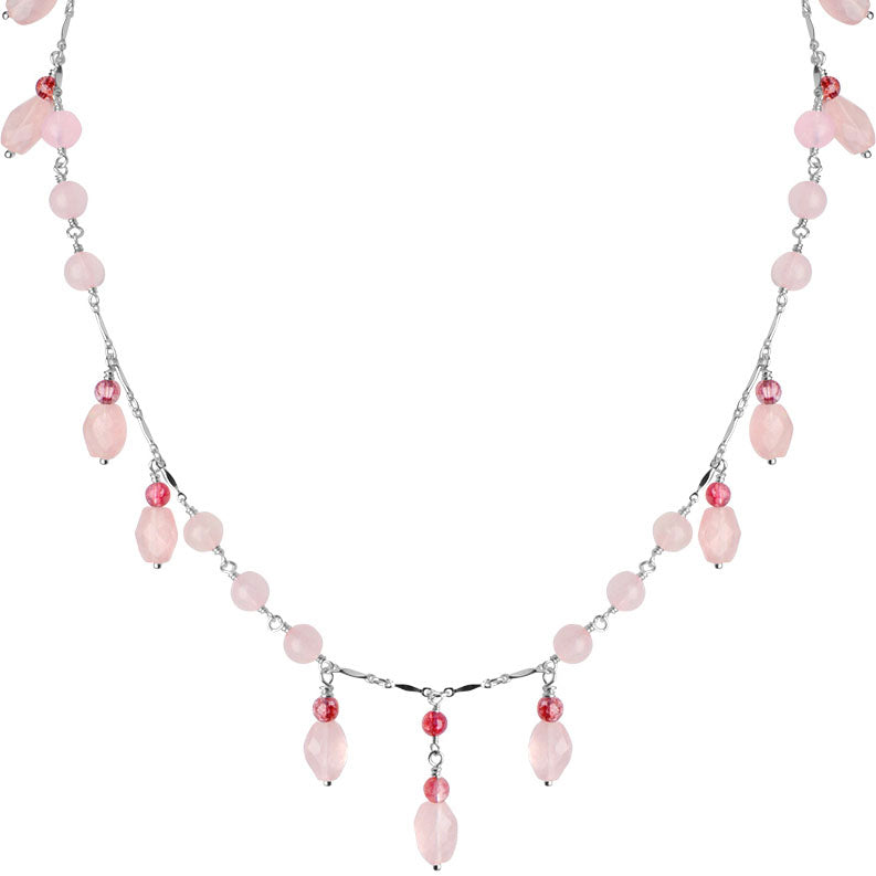 Graceful Cherry Blossom Pink Rose Quartz and Rosy Tourmaline Glass Accent Sterling Silver Necklace