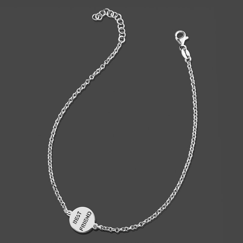 """Best Friend"" Italian Rhodium Plated Sterling Silver Anklet"