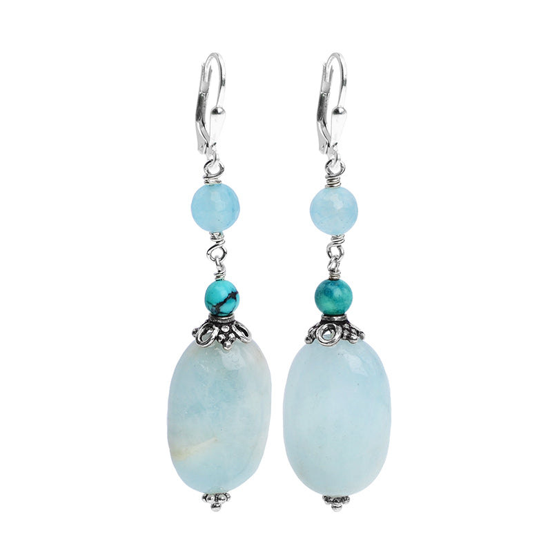 Stunning Blue Aquamarine, Turquoise & Agate Sterling Silver Earrings