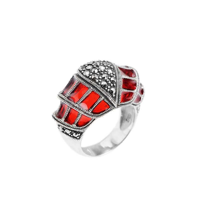 Stunning Regal Red Sterling Silver Marcasite Ring