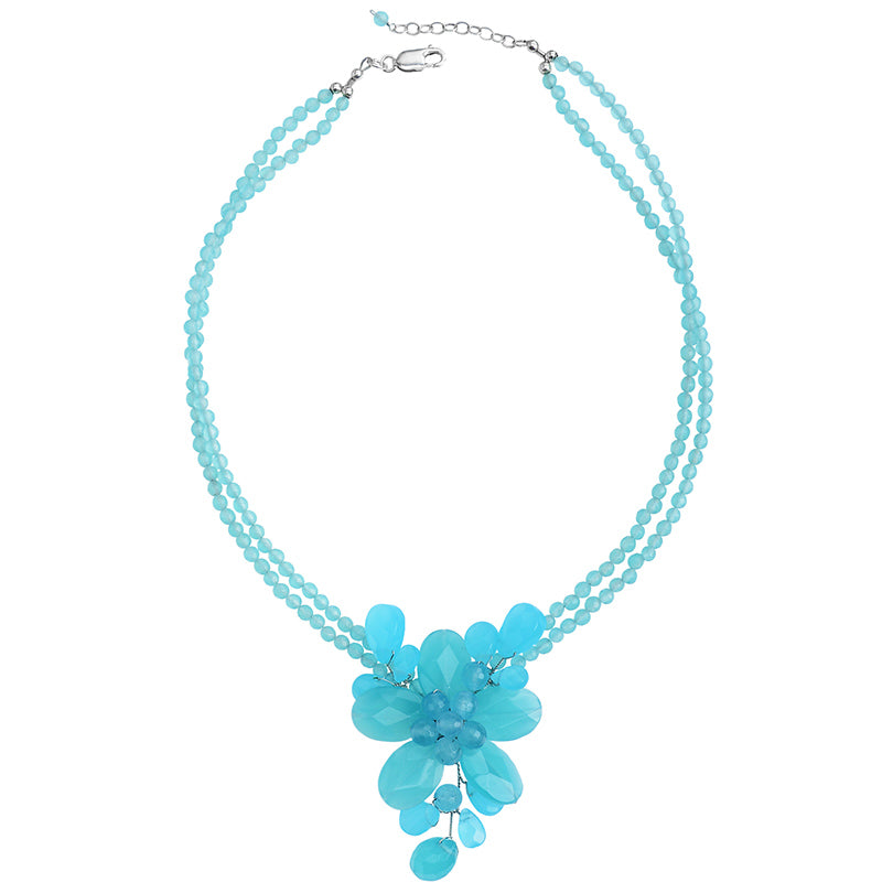 Chalcedony Blue Jade Flower Necklace