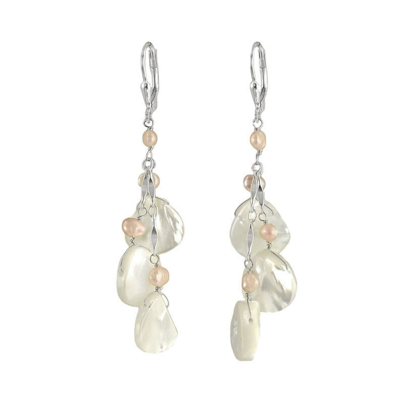 Radiant Mother of Pearl and Pink Fresh Water Pearl Earrings