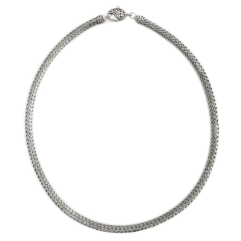 Sterling Silver 5mm Bali Weave Chain with Lobster Clasp