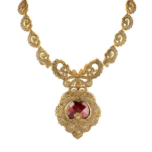 Victorian Majesty 14Kt Gold Plated Crystal Statement Necklace