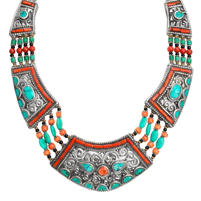 Amazing Large Himalayan Turquoise and Coral Nepal Statement Necklace