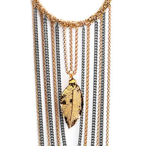 Black and Gold Plated Chains With Saturated 24kt Real Leaf Necklace