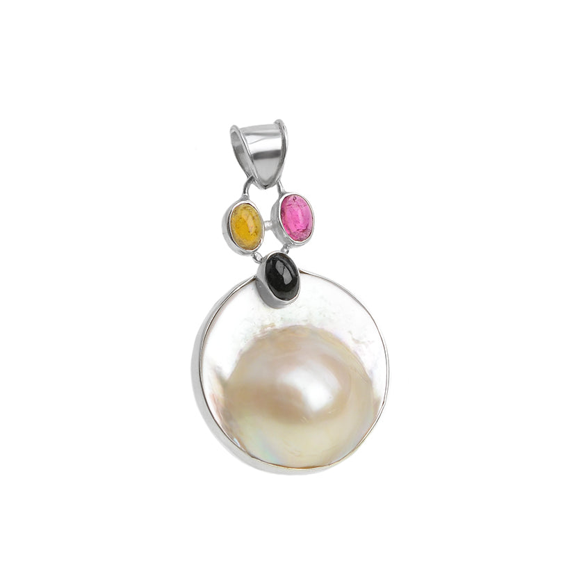 Beautiful Blister Pearl with Tourmaline Accent Stones Sterling Silver Pendant